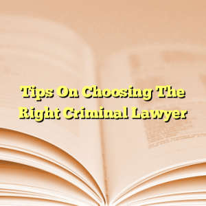 Tips On Choosing The Right Criminal Lawyer
